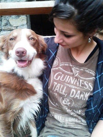 cane e padrone bordercollie rosso