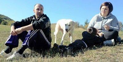 cane e padrone meticcia con famiglia