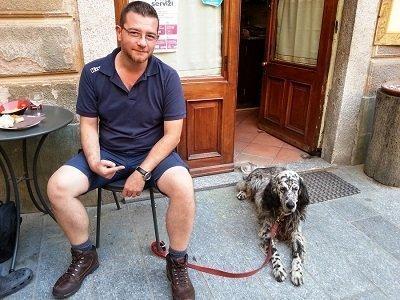 cane e padrone setter inglese anziano
