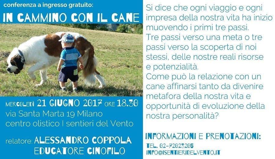 locandina conferenza cinofila in cammino con il cane di alessandro coppola