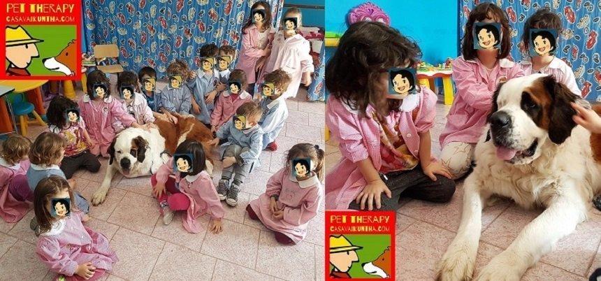 pet therapy alla scuola materna di volpedo con san bernardo