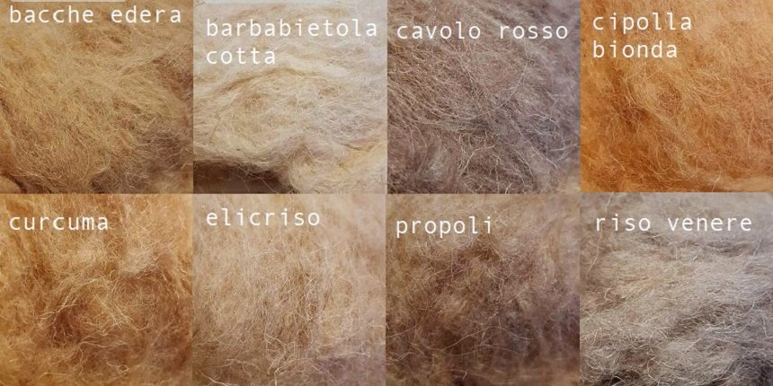 tintura naturale della lana nei vasi solari